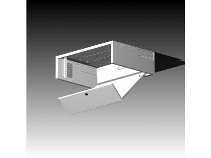 Rack Typ - 502-3U/300 plechové dveře, šedý