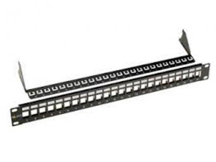 Patch panel Solarix modulární neosazený 24 portů, černý 1U