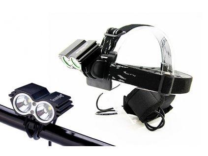 LED čelovka Solight WN19 cyklo a čelová svítilna, 1100lm, 2x Cree XML-T6 LED, Li-Ion