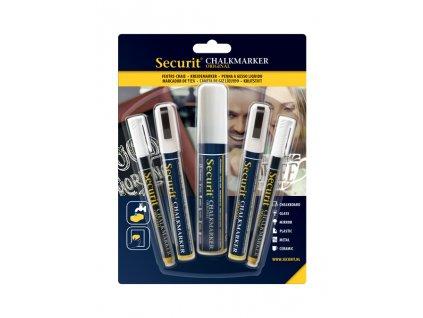 Křídový popisovač Securit SMA100 různé šířky hrotu, White, 5ks, blistr