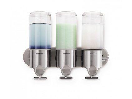 Dávkovač Simplehuman mýdla, šampónu a kondicionéru na zeď BT1029 nerez - trojitý