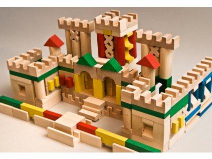 Hračka EkoToys Dřevěné kostky barevné, 210 kusů