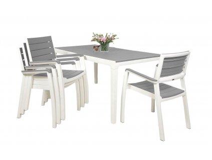Zahradní nábytek Keter Harmony set stůl + 4 židle bílý /světle šedý