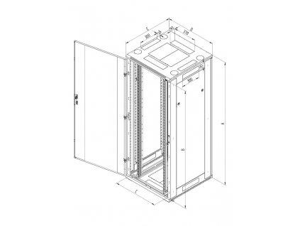 Rack Triton 19'' stojanový, 45U/800x1000, prosklené dveře, šedý, typ RT