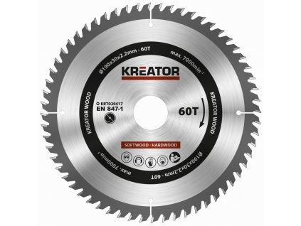 Pilový kotouč Kreator KRT020417 na dřevo 190mm, 60T