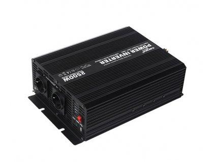 Napěťový měnič Carspa CAR2.5KU-24 24V/230V + USB 2500W, modifikovaná sinus