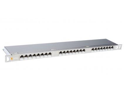 Patch panel Solarix SX24HD-6-STP-SL STP cat6 24p. 0,5U, s vyvazovací lištou