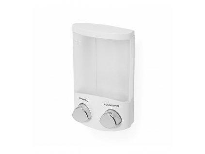 Dávkovač Compactor Duo mýdla / šampónu nebo desinfekce na zeď, bílý plast, 2 x 310 ml, RAN6015
