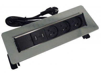 Zásuvka HBF 760080 vestavný panel - lišta se 3 zásuvkami 230 V a USB