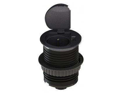 Zásuvka Solight PP122 vestavná s víčkem, 1,5m, 3x 1mm2, USB 2100mA, stříbrná
