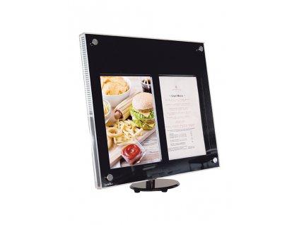 LED tabule Securit ACRYLIC 2 x A4, bíle osvícená, se stojanem