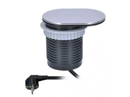 Zásuvka Solight PP124 vestavná s posuvným víčkem, 1,9m, USB 2400mA, stříbrná