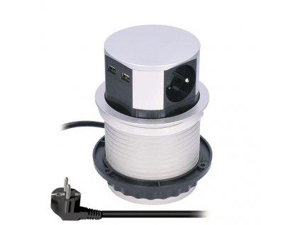 Zásuvka Solight PP100USB výsuvná, 3 x 230V, 2 x USB, 1,5m