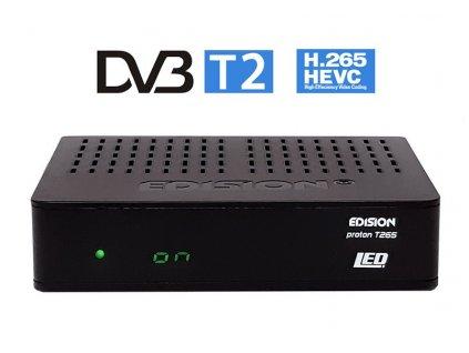 DVB-T2 přijímač Edision PROTON T265 LED DVB-T2/C