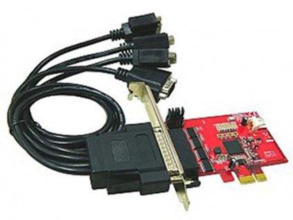 Řadič Kouwell IO-107 4x Serial řadič, PCI-E, retail, Low profille