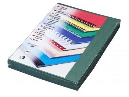Vázací kryt Eurosupplies kartonový Delta A4, 100ks, imitace kůže, zelený