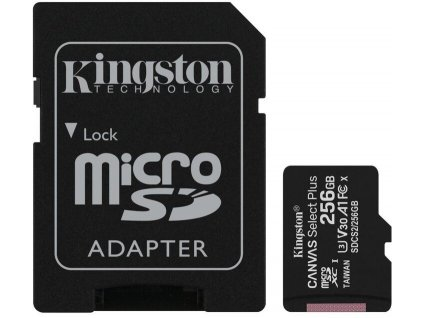 Paměťová karta Kingston Canvas Select Plus A1 256GB microSDXC, Class 10, 100R/85W s adaptérem