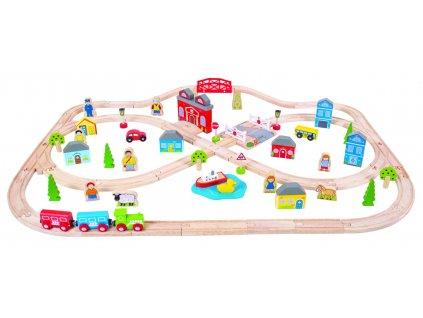 Vláčkodráha Bigjigs Rail dřevěná, město a vesnice 101 dílů