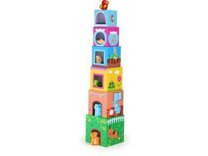 Hračka Small Foot Věž z kostek s dřevěnými zvířátky