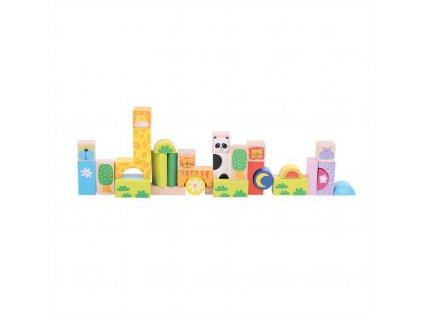 Kostky Bigjigs Toys Baby barevné Safari