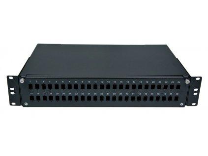 "Optická vana 19"", 2U 48x SC simplex, LC Duplex, E2000, černá"