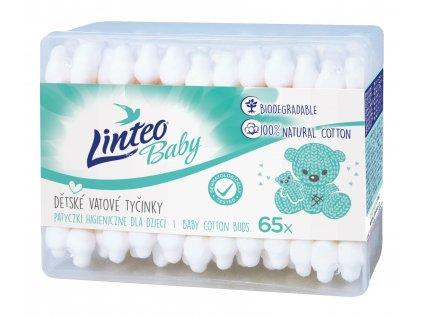 Vatové tyčinky Linteo BABY dětské 65 ks, 100% cotton