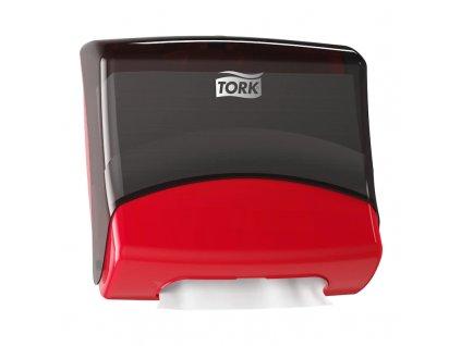 Zásobník Tork Perfromance W4 na skládané utěrky Top Pak Holder, červeno-černý