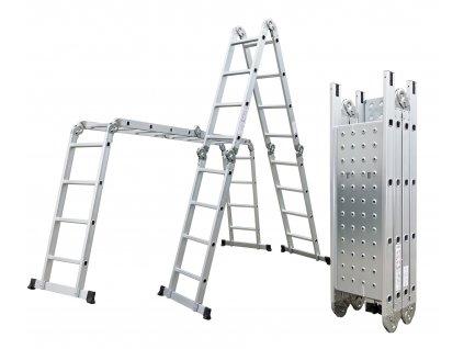 Hliníkové štafle G21 GA-SZ-4x4-4,6M multifunkční + podlážka