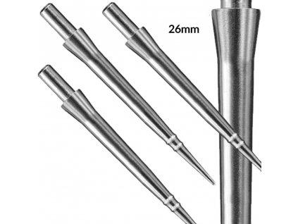 Hroty na šipky Harrows steel Apex smooth, kovové, strieborné 26mm