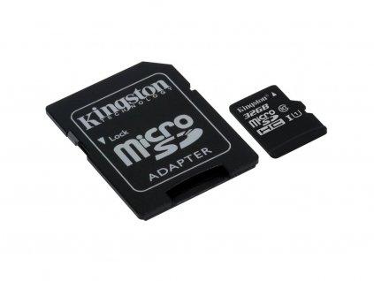 Paměťová karta Kingston microSDHC Class 10 32GB + adaptér