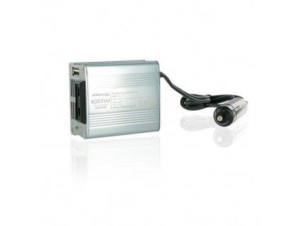 Napěťový měnič Whitenergy DC/AC 12V/230V, 100W, USB, mini